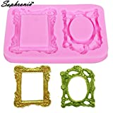 Star-Trade-Inc - 10PCS/SET M306 Mirror Frame Silicone Fondant Cake Mold Chocolate Cookie Craft Molds Baking Decorating Cake Tools 7.3x10.2x0.9cm