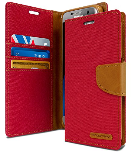 - Galaxy S7 Edge Case, [Drop Protection] GOOSPERY Canvas Diary [Denim Material] Wallet Case [ID Card/Cash Slot] with Stand Flip Cover TPU Casing for Samsung Galaxy S7 Edge (Red & Brown) S7E-CAN-RED