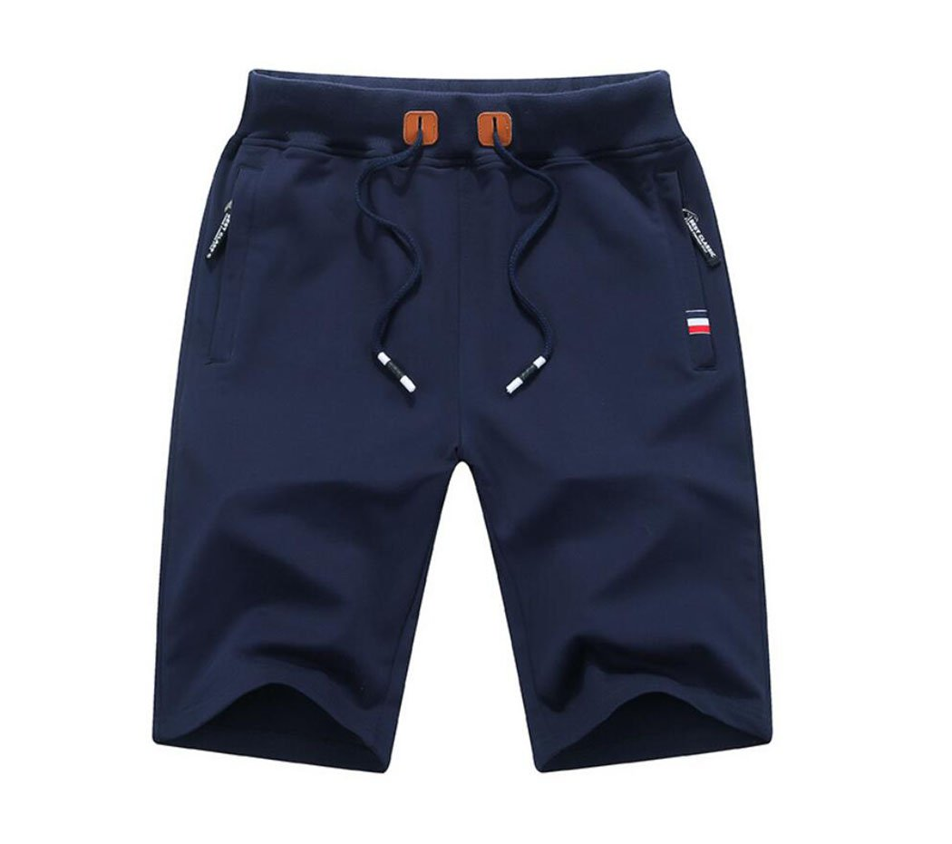 Amoystyle Men's Cotton Classic Fit Drawstring Casual Shorts Navy Asian 2XL