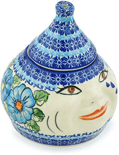 Polish Pottery 6¾-inch Garlic and Onion Jar (Bold Blue Poppies Theme) Signature UNIKAT + Certificate of Authenticity by Polmedia Polish Pottery
