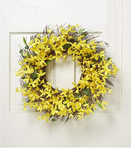 Light Yellow Forsythia Wreath - Spring Floral Front Door Forsythia Flower Wreath 22