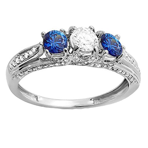 14K White Gold White Diamond And Blue Sapphire Ladies Vintage Bridal 3 Stone Engagement Ring