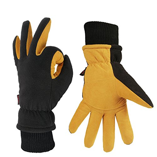 - OZERO Winter Gloves with Windproof Deerskin Suede Leather and Insulated Polar Fleece Warm for Women and Men Tan-Black S