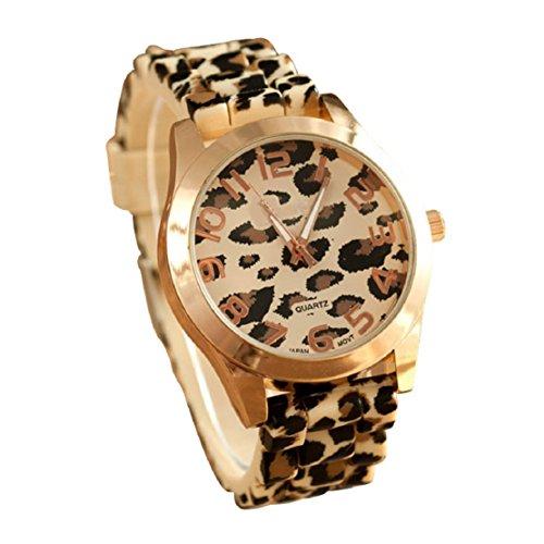 FEITONG Klassischer Mode Unisex Leopard Silikon Gelee Gel Quarz Analoge Armbanduhr Gold Neu