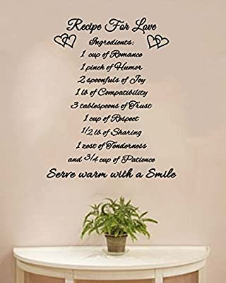 Recipe For Love Wall Decal- Black 22x27