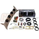 GlowShift 99-07 Ford Super Duty Powerstroke Tan Quad Pillar Pod w/ Tinted 7 Color Diesel Gauge Package Boost, EGT, Trans Temp & Fuel Pressure by GlowShift