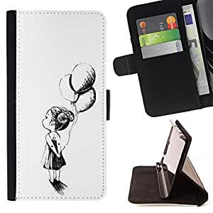 For Samsung Galaxy S3 Mini I8190Samsung Galaxy S3 Mini I8190 Balloons Girl Mother White Black Ink Style PU Leather Case Wallet Flip Stand Flap Closure Cover