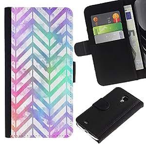 APlus Cases // Samsung Galaxy S4 Mini i9190 MINI VERSION! // Chevron Diseño iridiscente trullo púrpura // Cuero PU Delgado caso Billetera cubierta Shell Armor Funda Case Cover Wallet Credit Card