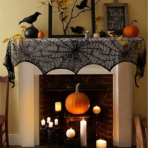 Fireplace Scarf Lace SpiiderWeb Mantle Décor for Halloween Party Decoration Tablecloth Window Curtain (Halloween Decorated Mantels)
