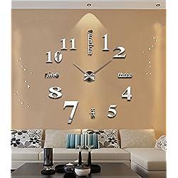 ZHENAI Large DIY Wall Clock Living Room Table Creative Clocks Modern Clock European Clock Simple Hanging Table Acrylic Office (Color : A, Size : 20 inches)