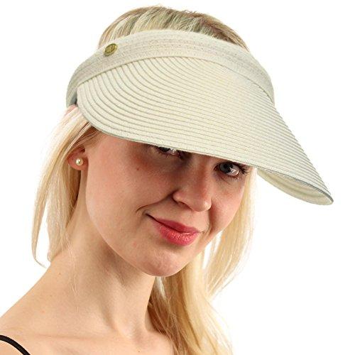Brim Braid (UPF UV Sun Protect Wide Braid Brim Clip Visor Open Back Beach Golf Cap Hat White)