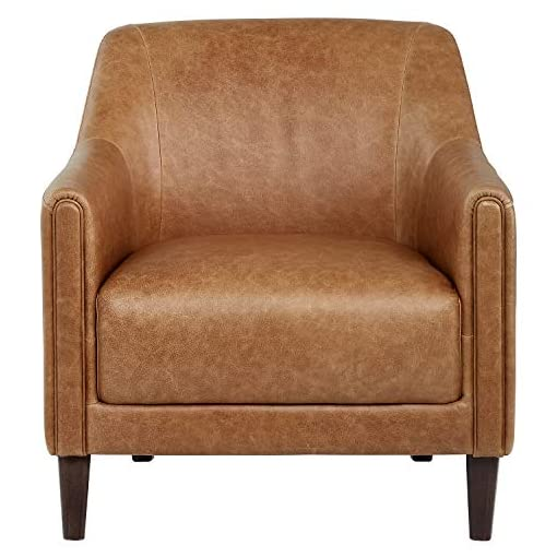 Farmhouse Accent Chairs Amazon Brand – Stone & Beam Grover Modern Living Room Accent Chair, 30″W, Cognac Leather farmhouse accent chairs