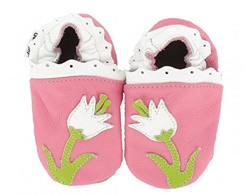 HOBEA-Germany Krabbelschuhe Erdbeere - Pantuflas para bebés Blume Pink