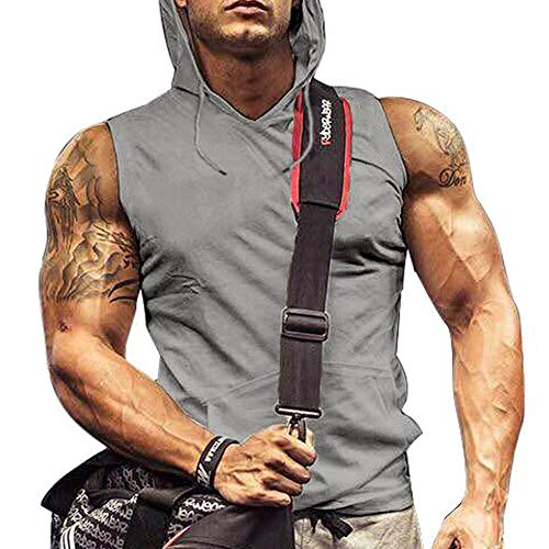 (Mens Wife-Beater Tank Top Hoodie Sleeveless Workout Shirts Top Tank Grey L)