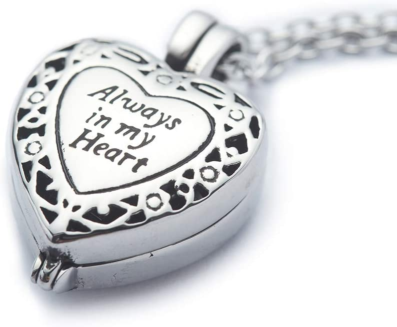 """Cremation Jewelry Urn Necklace for Ashes Waterproof Keepsake Heart Jewelry Urn Pendant Lockets Memorial Ash Holders Carved Always in My Heart for Human Adult with Free 21"""" Chain Funnel Filling Kits"""