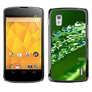 Paccase / SLIM PC / Aliminium Casa Carcasa Funda Case Cover - Green Water Drop Leaf - LG Google Nexus 4 E960