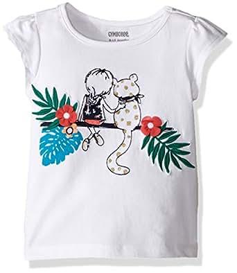 Gymboree Toddler Baby Girls' Short Sleeve Graphic Cheetah Tee, White, 6-12