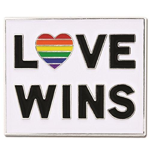top PinMart Love Wins Gay Pride Rainbow Heart LGBT Enamel Lapel Pin for sale