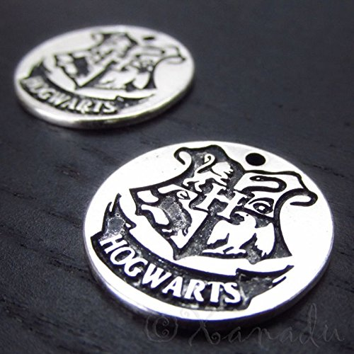 OutletBestSelling Pendants Beads Bracelet Hogwarts Crest Antiqued Silver Plated Charms 5pcs
