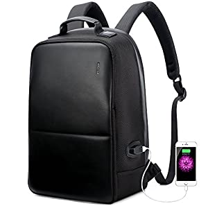 Bopai Business Backpack Invisible Anti theft Backpack with USB Charging Port Travel Rucksack 15.6 inch Laptop/ MacBook Pro Water-Resistant Computer Backpack for men, Black