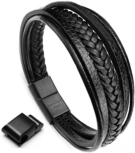 murtoo Leather Bracelet Magnetic-Clasp Cowhide Braided Multi-Layer Wrap Mens Bracelet, 7.5-8.7 Inches