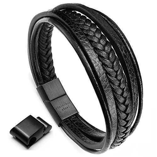 murtoo Leather Bracelet Magnetic-Clasp Cowhide Braided Multi-Layer Wrap Mens Bracelet, 7.5-8.7 Inches (Black 8.7)