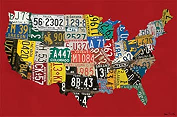 USA License Plate Map - Red Canvas Reproduction: Amazon.co.uk: Baby