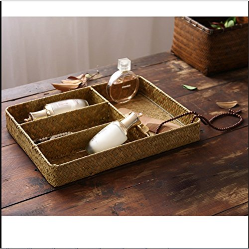 Natural Maize Storage Basket (Classics Pure Hand-Woven Seagrass Cosmetics Jewelry Storage Basket, Bathroom & Home Desktop Organizer Baskets)