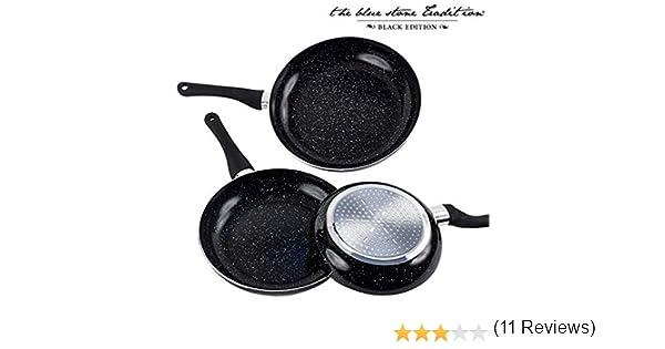 Appetitissime Black Stone Sartenes Antiadherentes, Aluminio, Negro Jaspeado, 28 cm, 3 Unidades: Amazon.es: Hogar