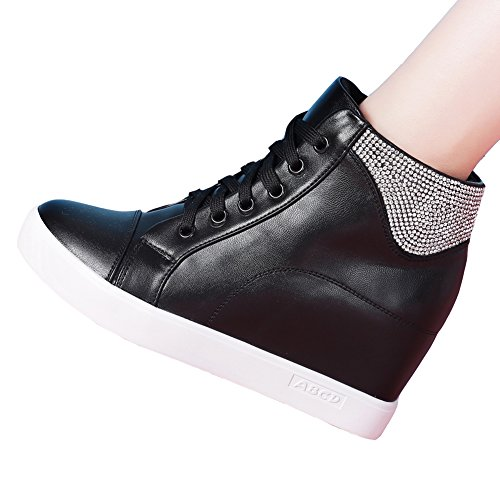 GIY Women Fashion Cz High Top Round Toe Sneaker Wedge Increased Height Casual Sports Shoes