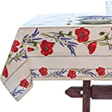 Amelie Michel Wipe-Clean French Tablecloth in Ivory Poppies | Authentic French Acrylic-Coated 100% Cotton Fabric | Easy Care, Spill Proof [60' x 96' Rectangle]