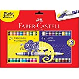 Canetinha Hidrográfica Bicolor, Faber-Castell, 15.0624N, 24 Canetas/48 Cores