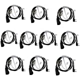 Dreamworth 2 Pin PTT Covert Air Acoustic Tube Headset Earpiece for Kenwood PUXING Baofeng UV-5R UV-5RA 888S Retevis H777 2 Way Radio Walkie Talkies (10 Pack)