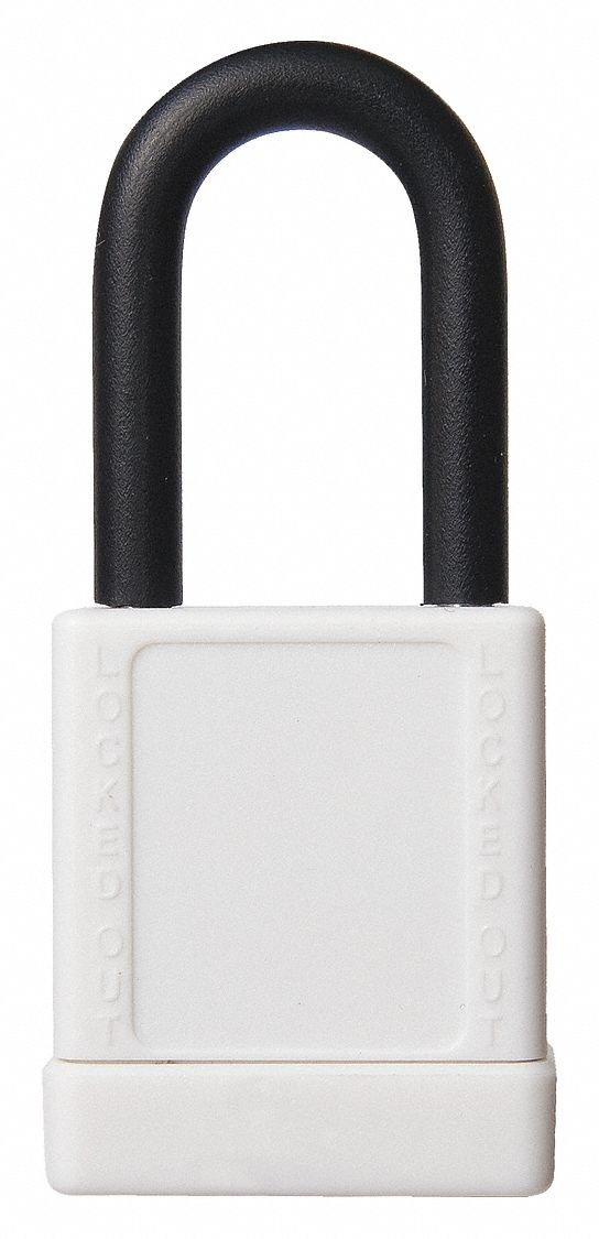 White Lockout Padlock, Alike Key Type, Aluminum Body Material, 6 PK
