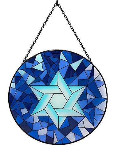 Transpac Hanukkah Decorations Judaica Jewish Wall Hanging Ornament Window Suncatcher Colorful Glass Indoor Outdoor (Star of ()
