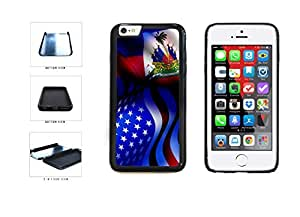 Haiti and USA Mixed Flag Dual Layer Phone Case Back Cover Apple iphone 5 5s ( es screen) includes fashion case Cloth and Warranty Label