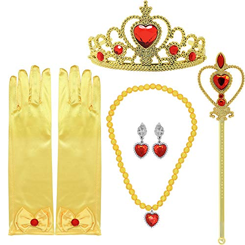 (Tacobear Princess Dress Up Accessories Gift Set for Belle Crown Scepter Necklace Earrings Gloves, Yellow, 5 Pieces)