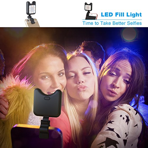 Apexel Clip On Mini Multi-function Selfie Light[Portable Dimmable Clip Lights]Selfie LED Camera Light with 9 Lighting Modes for iPhone Samsung Sony and other Smart Phones and Tabletes,Black by Apexel (Image #2)
