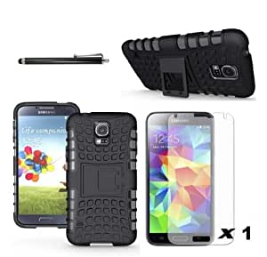 MagicShield Heavy Duty Rugged Cover Case With Stand for Samsung Galaxy S5 SV S V Screen Protector Pen Stylus (Black&Black)
