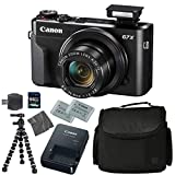 Canon PowerShot G7 X Mark II: Digital Camera + 64GB 4K 1200X SDXC Card + Pro Case + 2X NB-13L + Canon CB-2LH + WS-DC12 Strap + Flexible Tripod + AOM Microfiber Cleaning Cloth: International Version For Sale