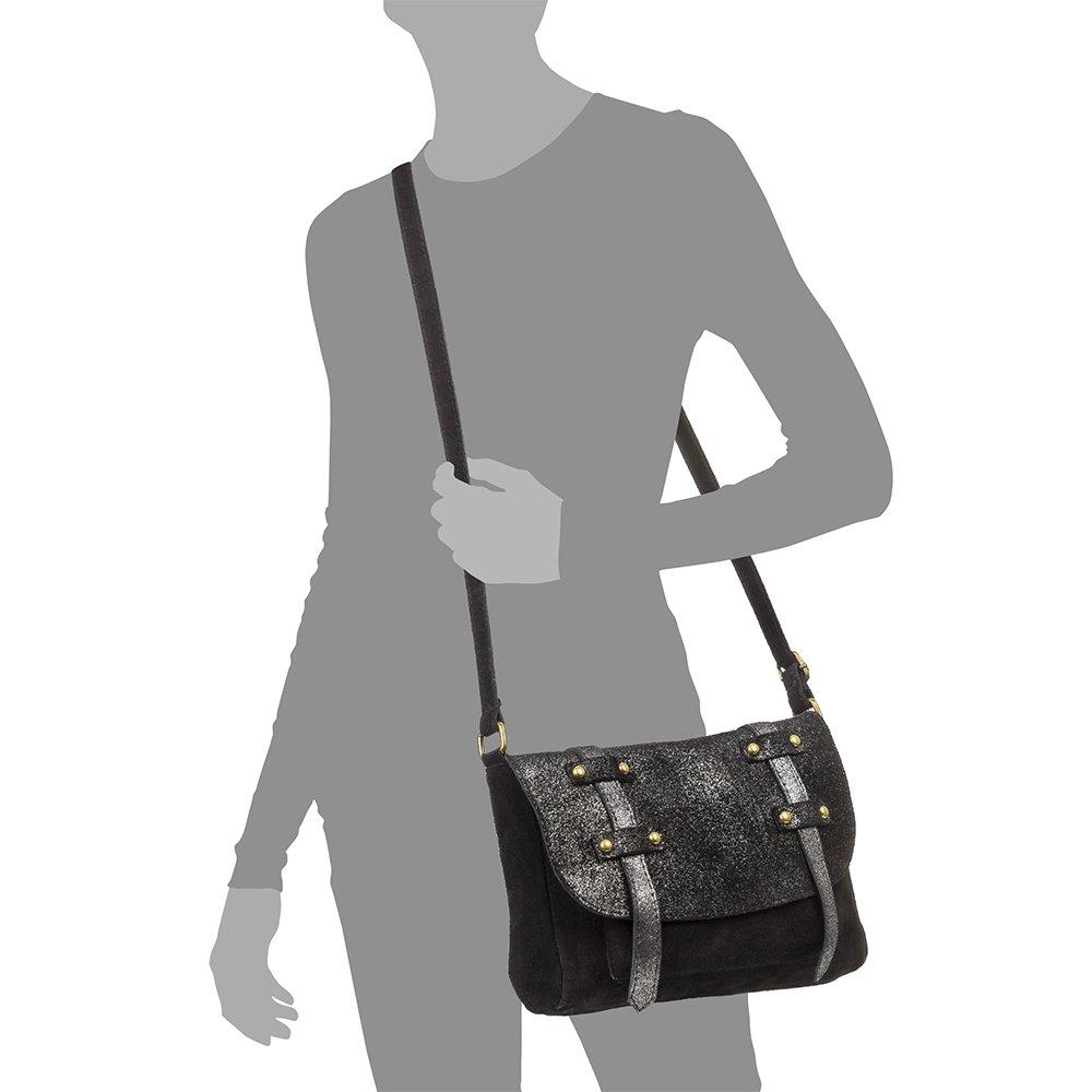 Color Black Vera Pelle Italiana Made in Italy 26x21.5x8 cm Firenze ARTEGIANI.Bolso Mujer Piel aut/éntica.Bolso Mujer Cuero Genuino Dollaro.Solapa Frontal Bolso Satchel.Bolso Bandolera