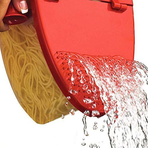 Hot Pasta Boat | Versatile Microwave Pasta Cooker Vegetable Steamer Boat Strainer with Recipe Book | Sturdy Food Grade Heat Resistant PP Material | Effortless Usage Anti Mess No Stick Colander | Massive Capacity Up To 5 Pound | Vibrant Red by Hot Pasta Boat (Image #4)