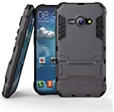 Heartly Samsung Galaxy J1 Ace SM-J110 Back Cover Graphic Kickstand Hard Dual Rugged Armor Hybrid Bumper Case - Navy Black