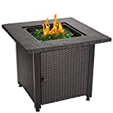 Blue Rhino Outdoor Propane Gas Fire Pit with Rock Top and Green Fire Glass - Add Warmth and Beauty to Your Backyard