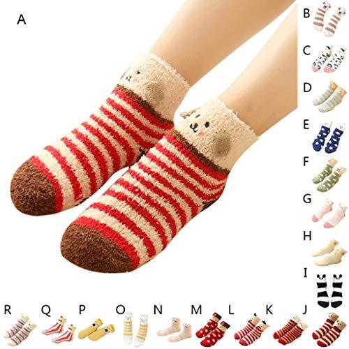 Dot Socks Fuzzy (Haluoo Unisex Winter Warm House Slipper Socks Super Soft Non Slip Fuzzy Cozy Fluffy Cute Animal Socks Cartoon Floor Socks Casual Crew Socks Sleep Socks Towel Socks (Blue dot elf, Women))