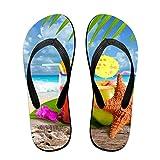 Couple Slipper Summer Juice Print Flip Flops Unisex Chic Sandals Rubber Non-Slip Beach Thong Slippers