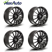 "MaxAuto Wheels 18"" 18X8 +45 mm Offset Rims 5x100 5x114.3 Hub 5Lug Matt Black Finish (Set of 4) New"