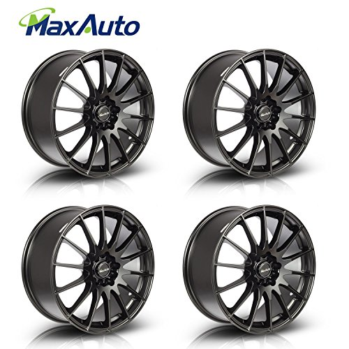 MaxAuto Wheels 18″ 18X8 +45 mm Offset Rims 5×100 5×114.3 Hub 5Lug Matt Black Finish (Set of 4) New