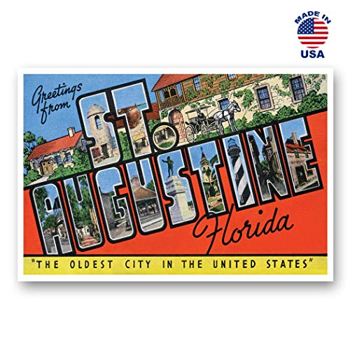GREETINGS FROM ST. AUGUSTINE, FL vintage reprint postcard set of 20 identical postcards. Large Letter St. Augustine, Florida city name post card pack (ca. 1930's-1940's). Made in ()