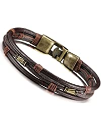 Jstyle Mens Vintage Leather Wrist Band Brown Rope...